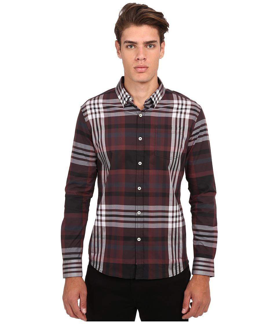 7 Diamonds Harrington L/S Shirt (Maroon) Men
