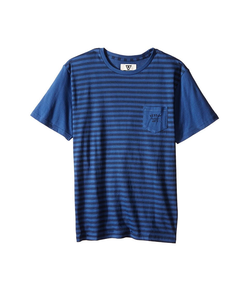 VISSLA Kids - Stacked Lines Pocket Tee (Big Kids) (Light Navy) Boy's T Shirt