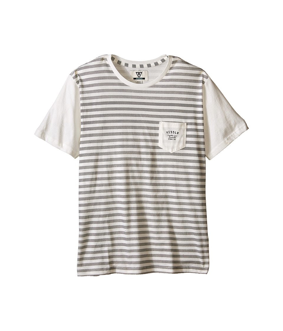 VISSLA Kids - Stacked Lines Pocket Tee (Big Kids) (Vintage White) Boy