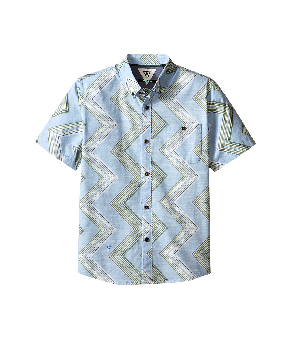 VISSLA Kids - Raised By Waves Short Sleeve Woven Shirt (Big Kids) (Coastal Blue) Boy's Short Sleeve Button Up