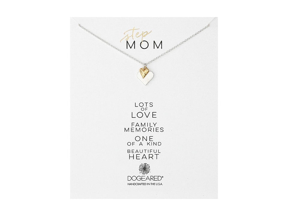 Dogeared - Step-Mom Perfect Heart w/ Tiny Stone Necklace (Sterling Silver/Gold Dipped) Necklace