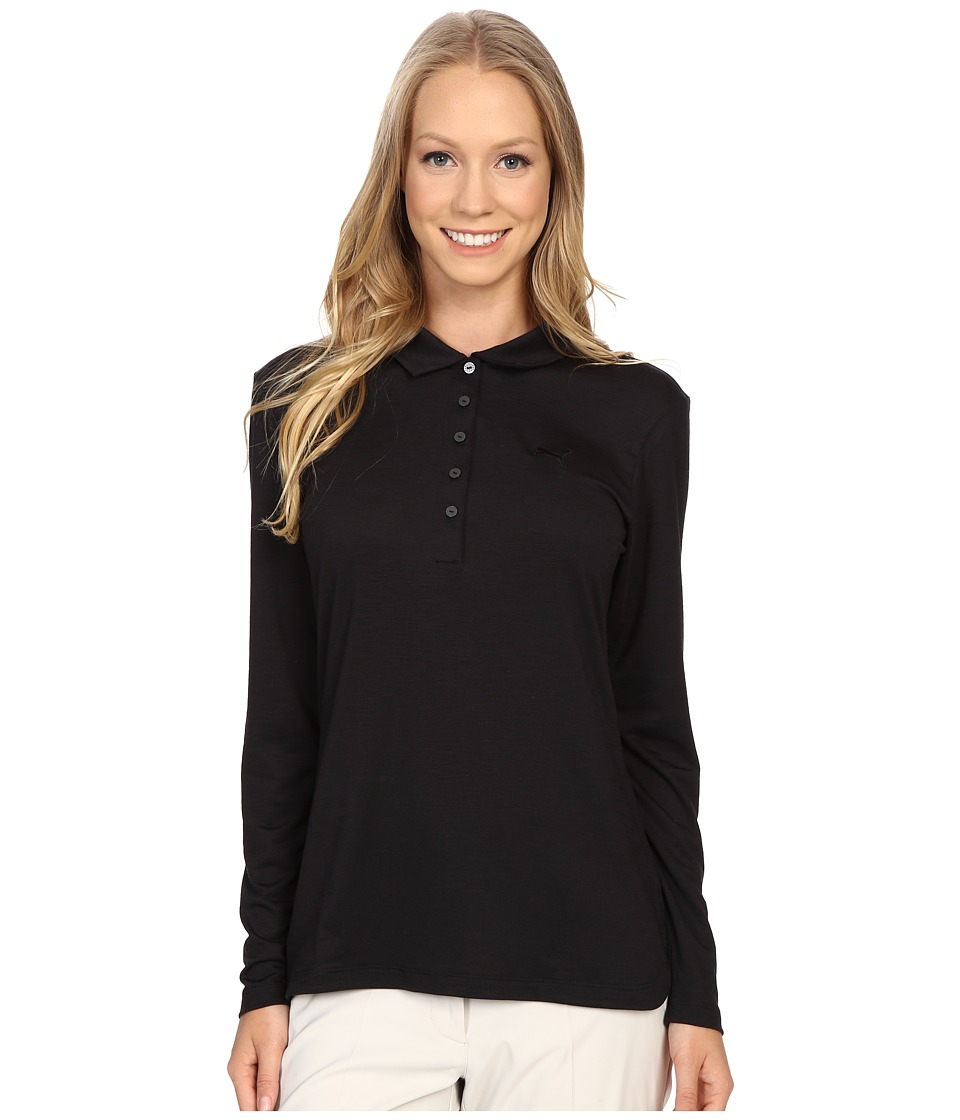 PUMA Golf - Long Sleeve Polo (Black) Women's Long Sleeve Pullover
