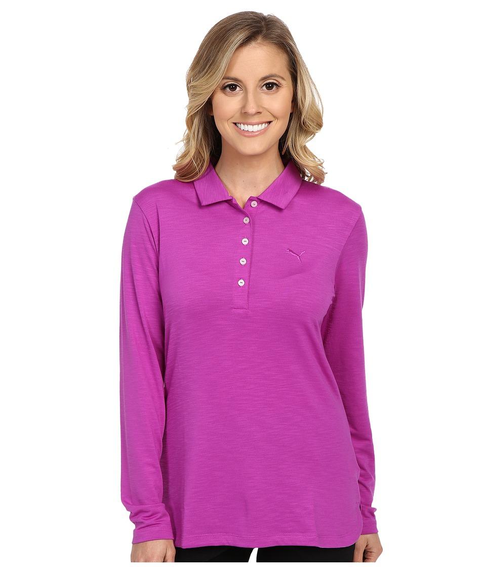 PUMA Golf - Long Sleeve Polo (Purple Cactus Flower) Women's Long Sleeve Pullover