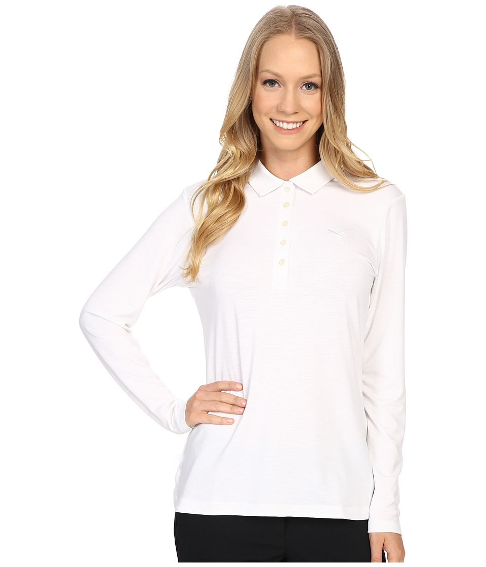 PUMA Golf - Long Sleeve Polo (Bright White) Women's Long Sleeve Pullover