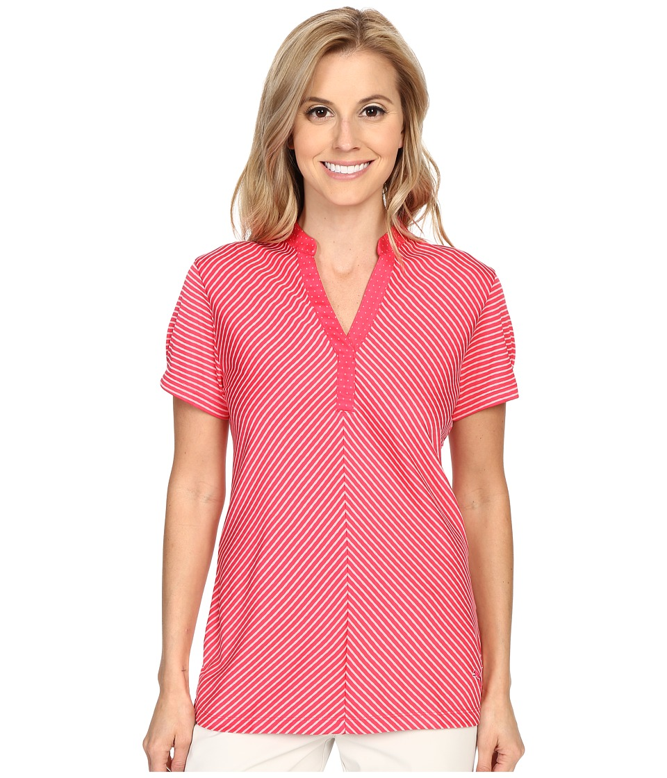 PUMA Golf - Polka Stripe Top (Rose Red) Women's Clothing