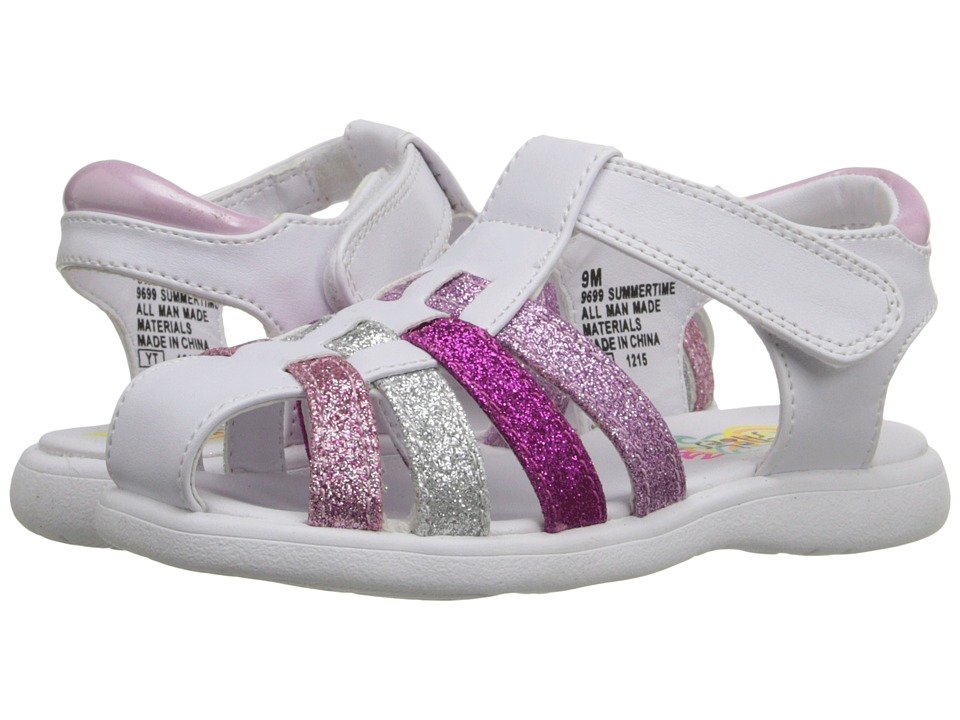 Rachel Kids - Summertime (Toddler) (White/Multi Glitter) Girls Shoes