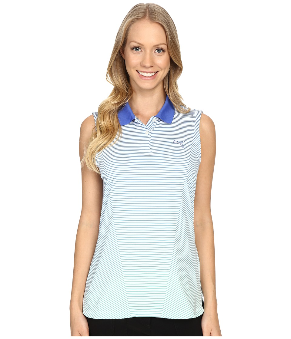 PUMA Golf - 3D Stripe Sleeveless Polo (Dazzling Blue) Women's Sleeveless