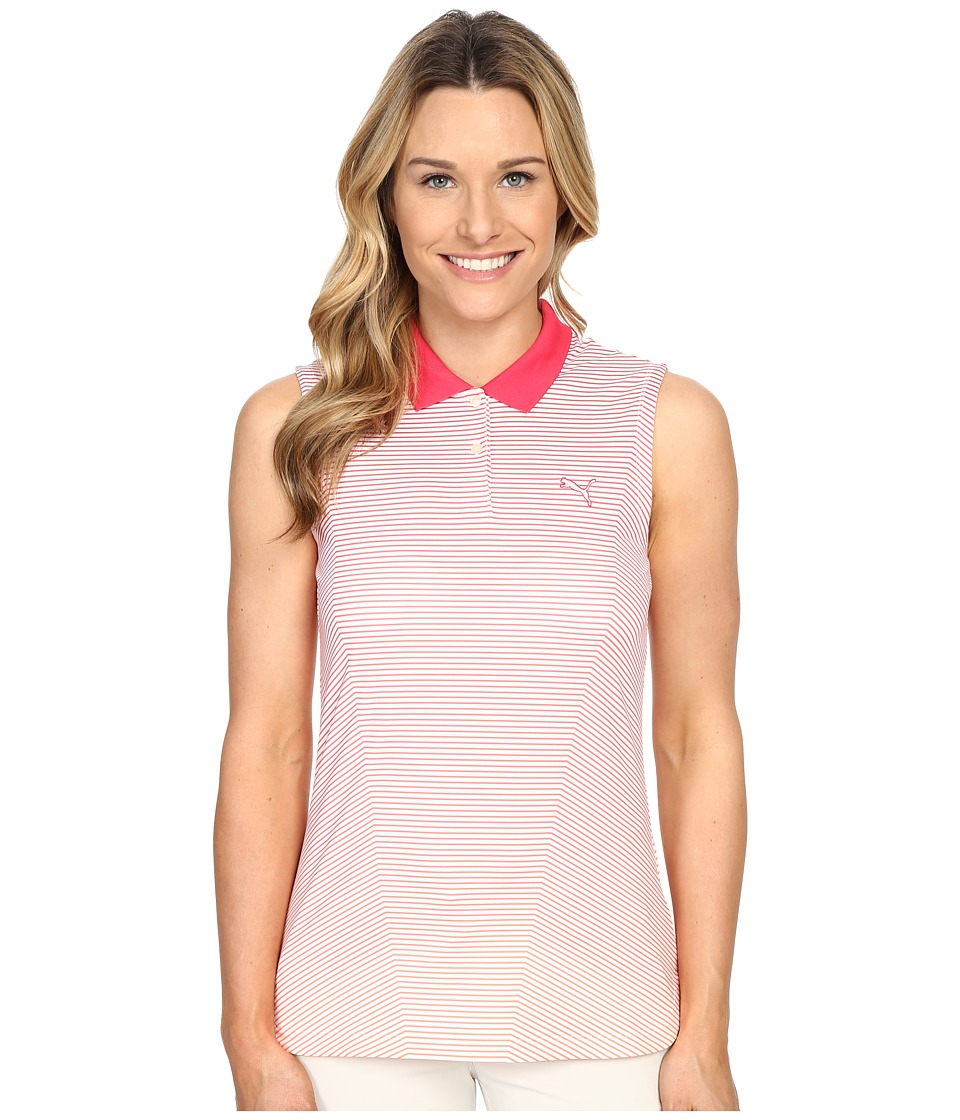 PUMA Golf - 3D Stripe Sleeveless Polo (Rose Red) Women's Sleeveless