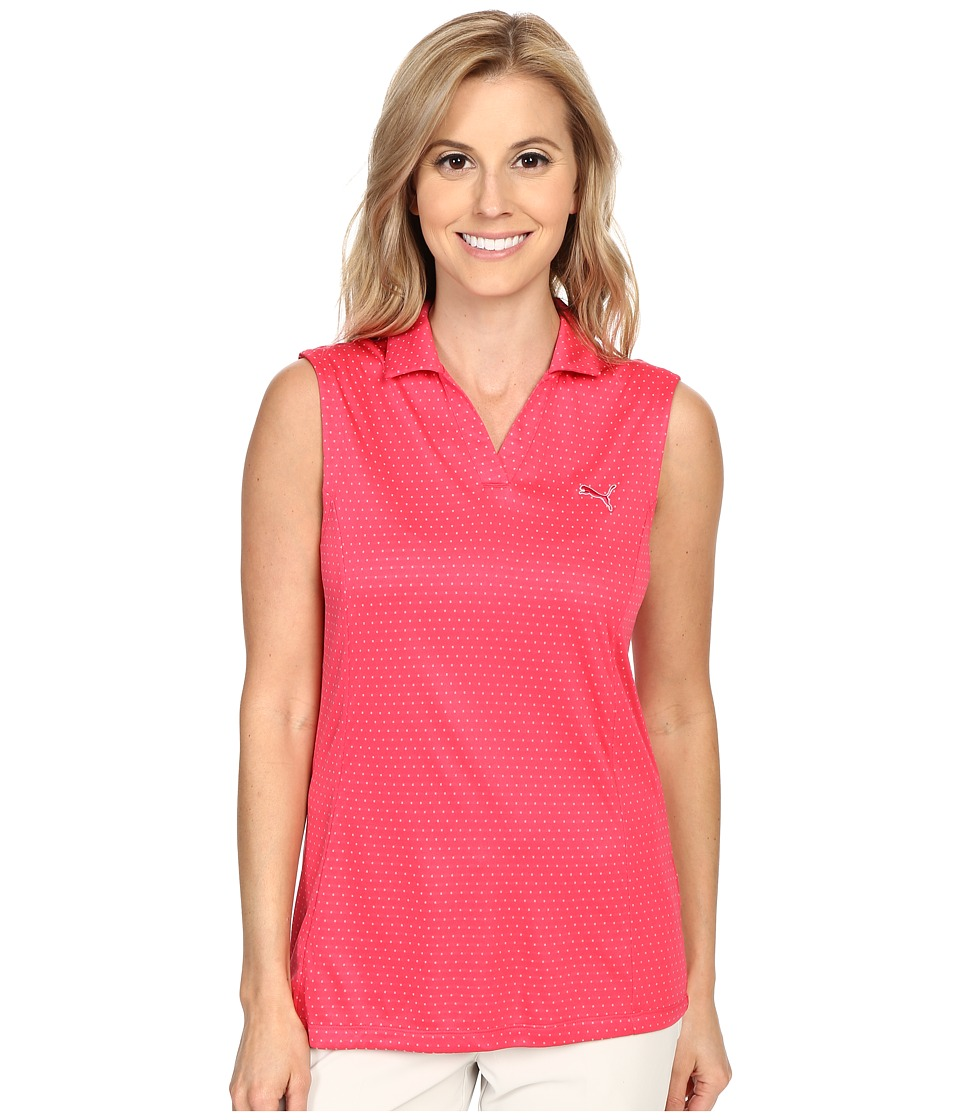 PUMA Golf - Polka Stripe Sleeveless Polo (Rose Red) Women's Sleeveless