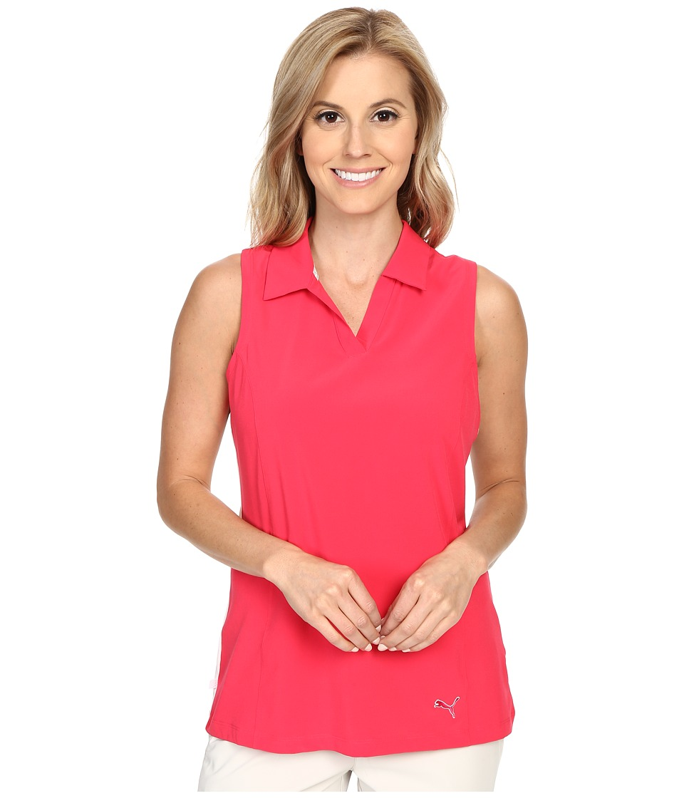 PUMA Golf - Woven Block Sleeveless Polo (Rose Red) Women's Sleeveless