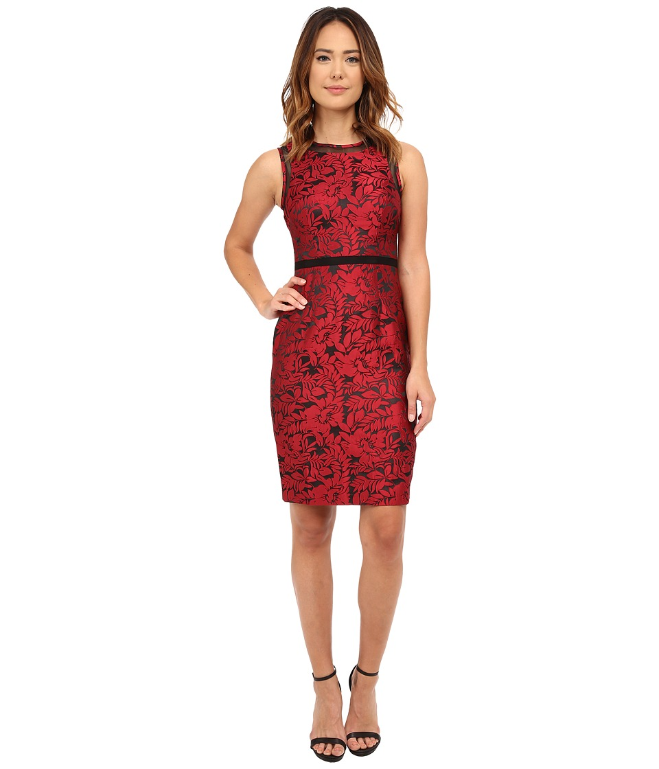 Maggy London - Leaf Flower Satin Sheath (Fire) Women's Dress