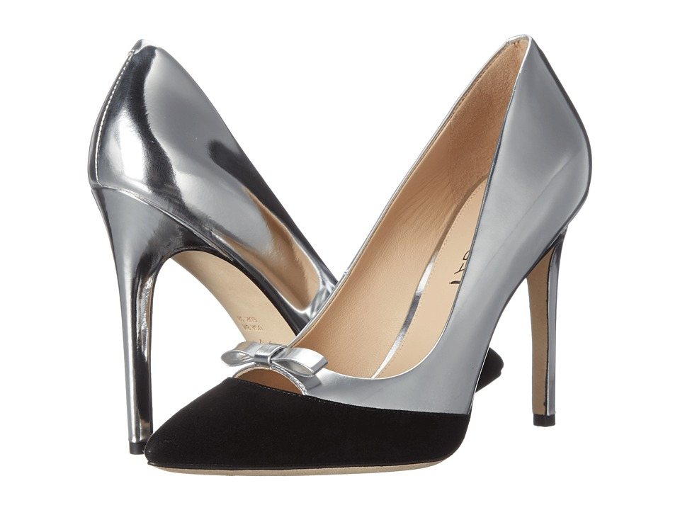 Via Spiga - Fara (Black/Silver Kid Suede/Liquid Metallic) High Heels