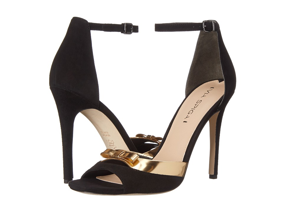 Via Spiga - Tallulah (Black/Gold Kid Suede/Liquid Metallic) High Heels
