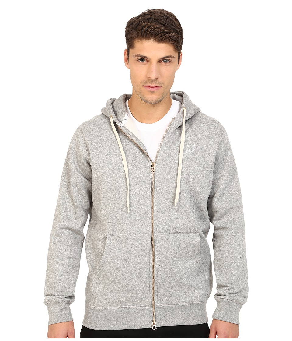 HUF - Script Zip Hoodie (Grey Heather) Men's Sweatshirt