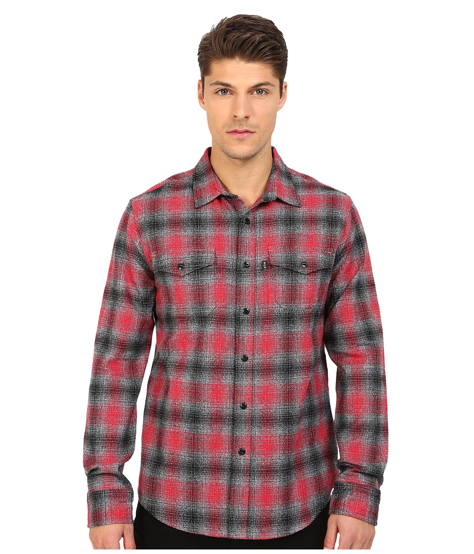 HUF - Sayulita Flannel Shirt (Red) Men's Long Sleeve Button Up