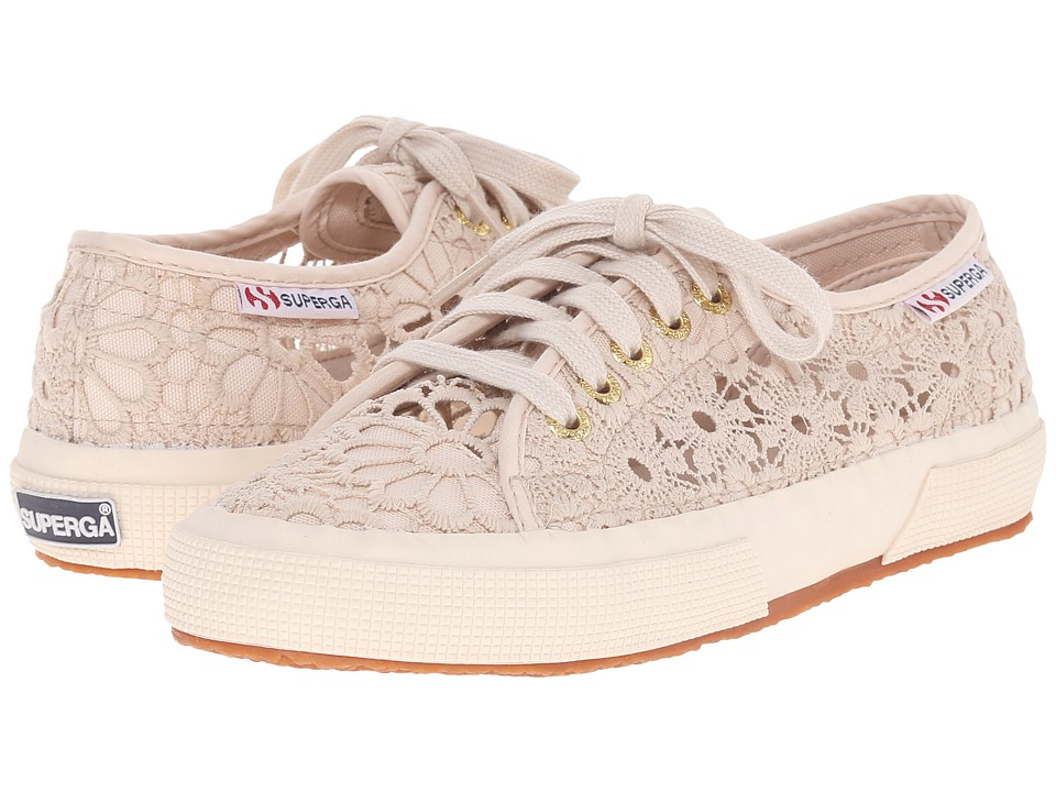 Superga - 2750 Cotmacramew (Beige) Women's Lace up casual Shoes