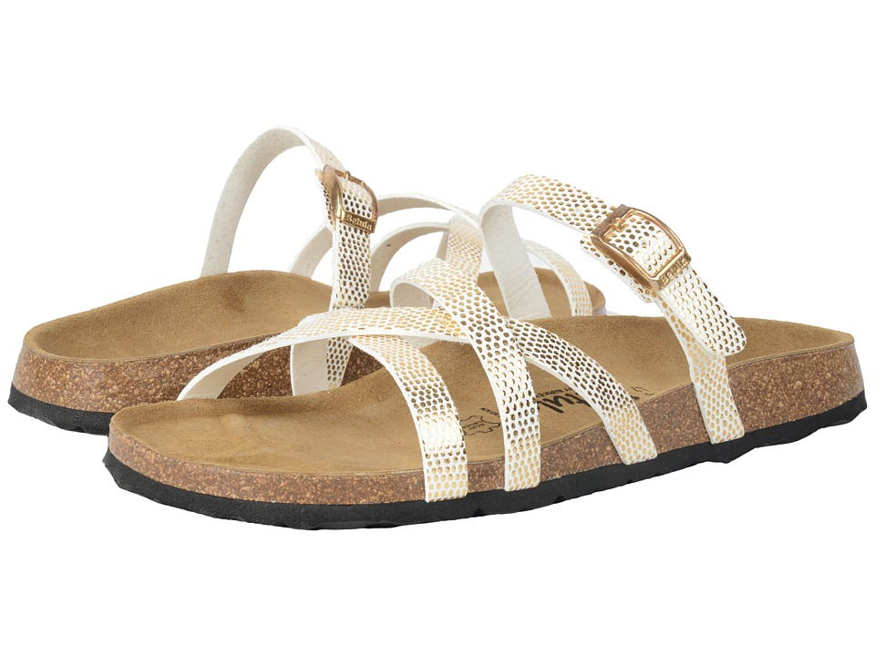 Betula Licensed by Birkenstock - Cross Strap Birko-Flor (White/Gold) Women's Shoes