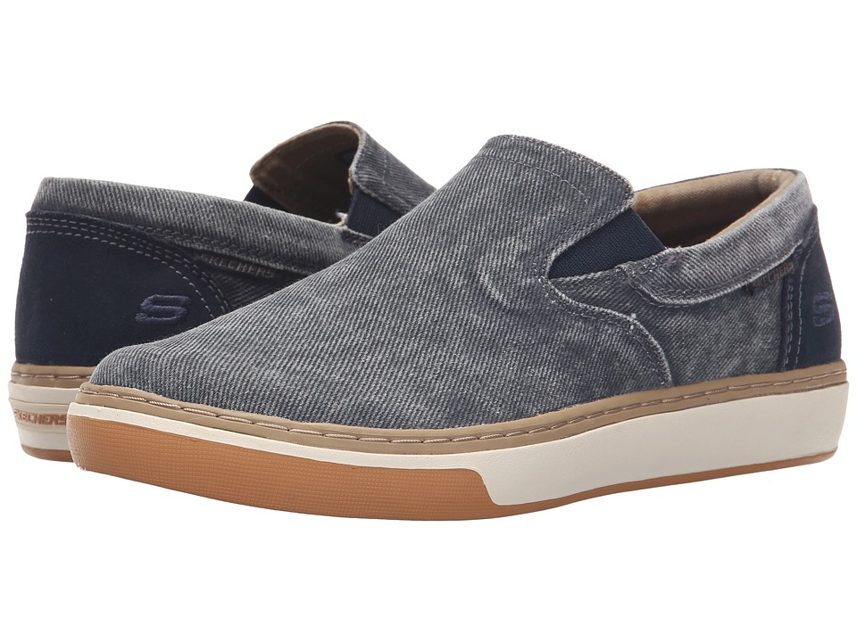SKECHERS - Relaxed Fit Palen - Tiago (Navy Washed Canvas) Men's Slip on Shoes
