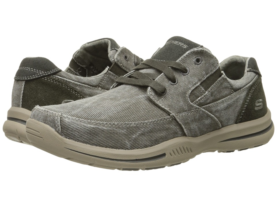 SKECHERS Relaxed Fit Elected Fultone (Light Gray Canvas) Men