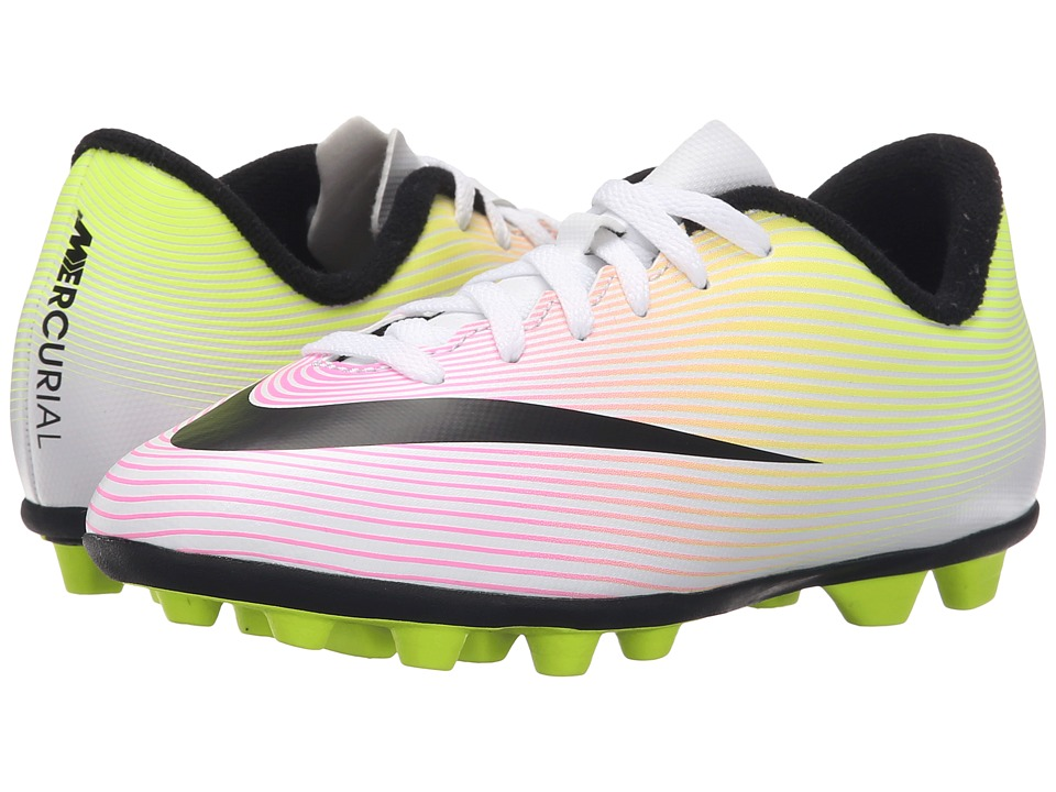 Nike Kids - Jr Mercurial Vortex II FG Soccer (Toddler/Little Kid/Big Kid) (White/Volt/Total Orange/Black) Kids Shoes