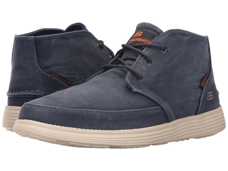 SKECHERS - Relaxed Fit Status - Altone (Navy Washed Canvas) Men's Shoes