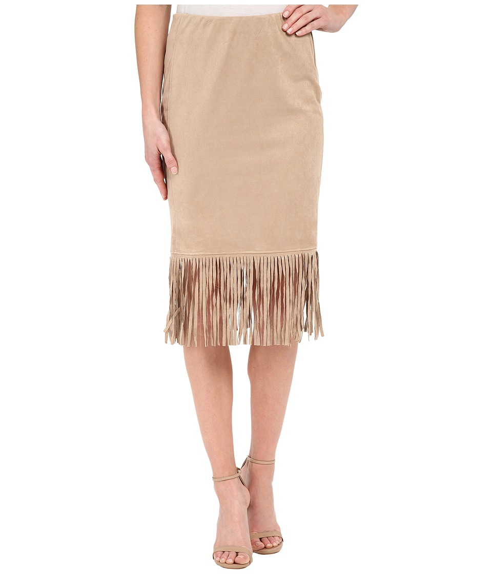 B Collection by Bobeau Faux Suede Fringe Skirt (Sand) Women