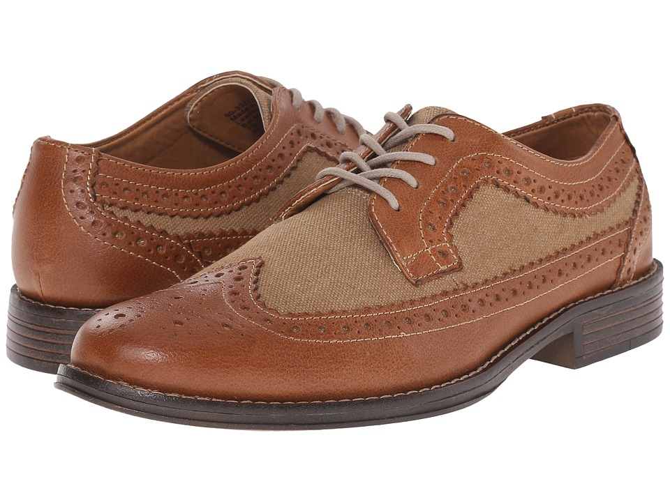 Dockers - Hathaway (Tan/British Tan Distressed Burnished Full Grain/Canvas) Men's Lace Up Wing Tip Shoes