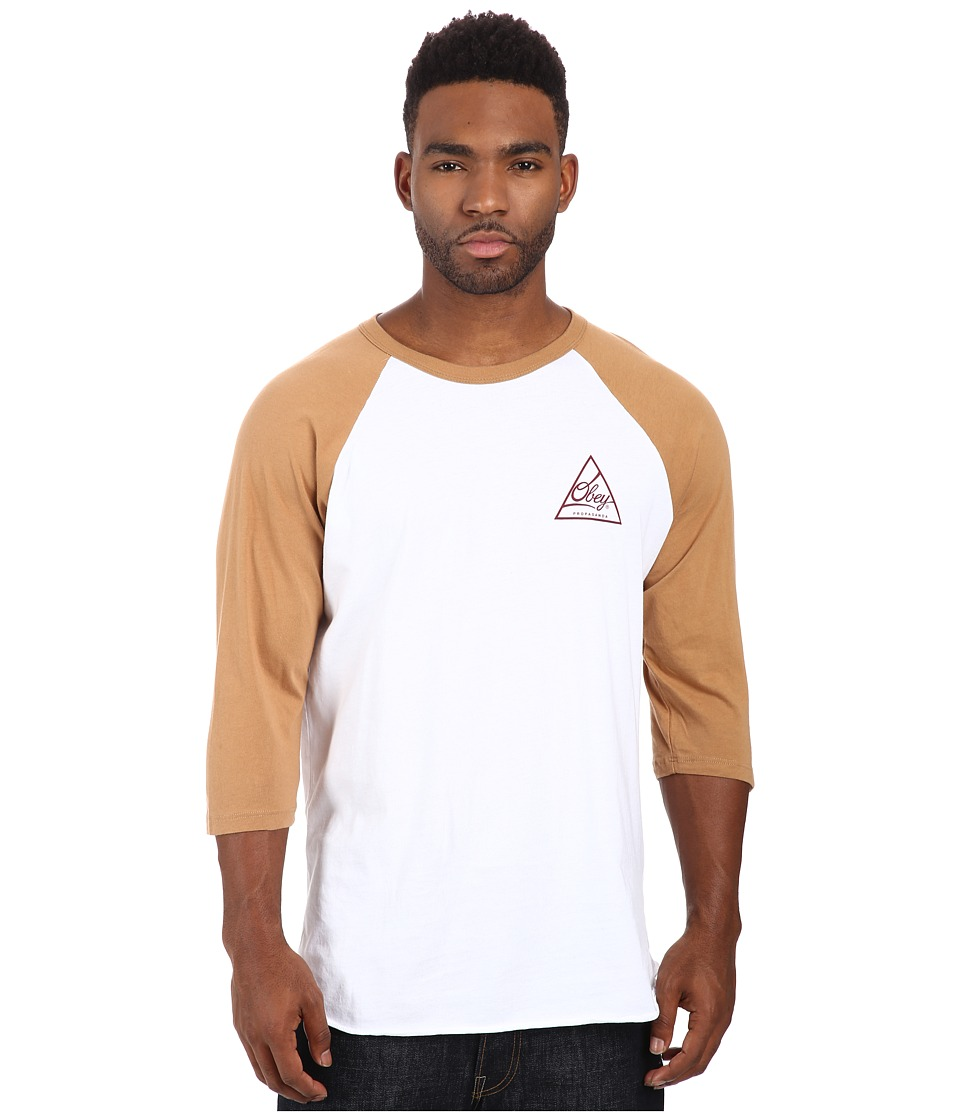 Obey - Next Round 2 Premium Raglan Top (White/Caramel) Men's T Shirt
