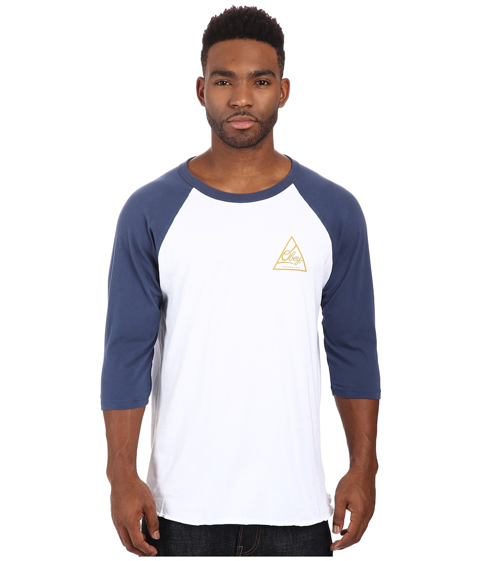 Obey - Next Round 2 Premium Raglan Top (White/Navy) Men's T Shirt
