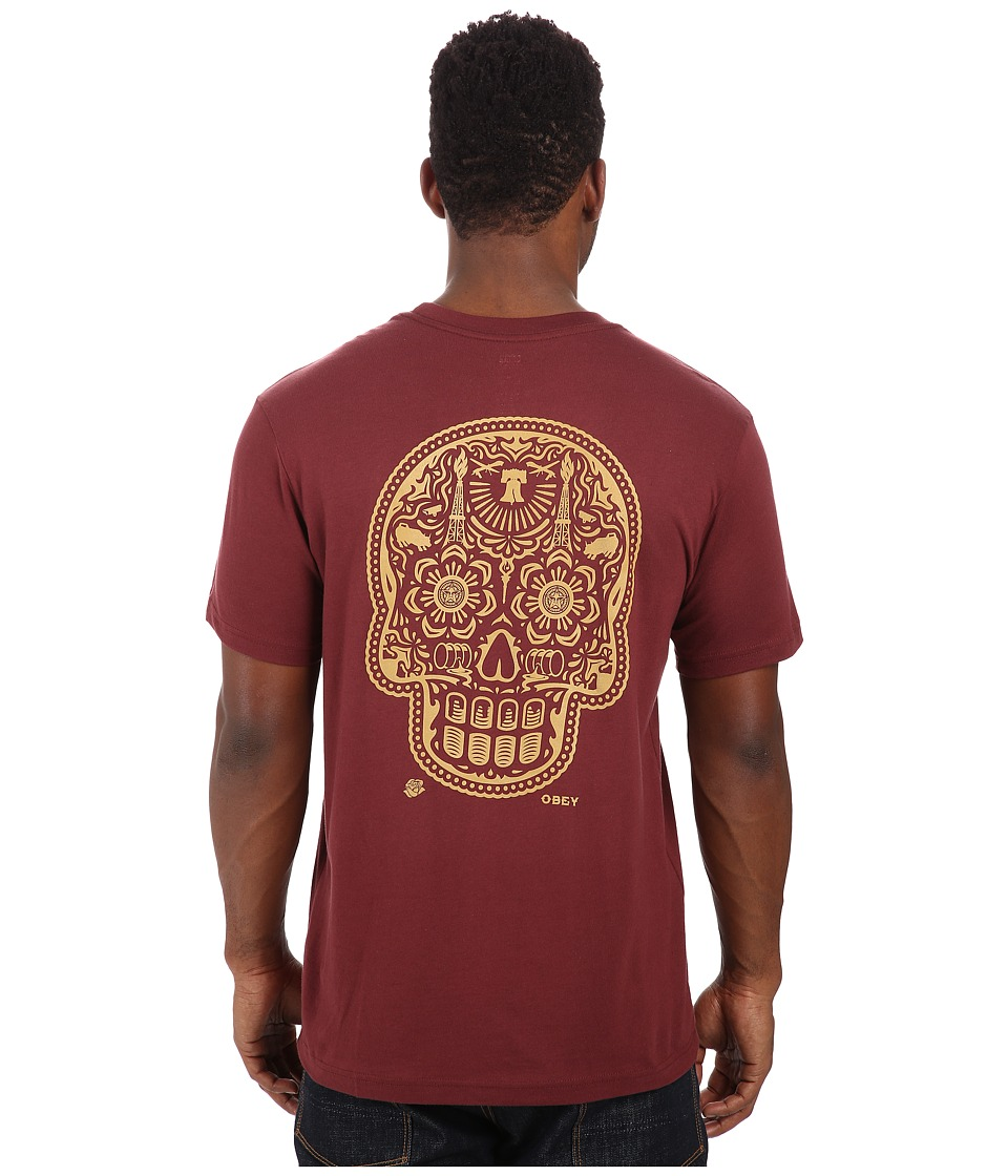 Obey - Premium Power Glory Tee (Burgundy) Men's T Shirt