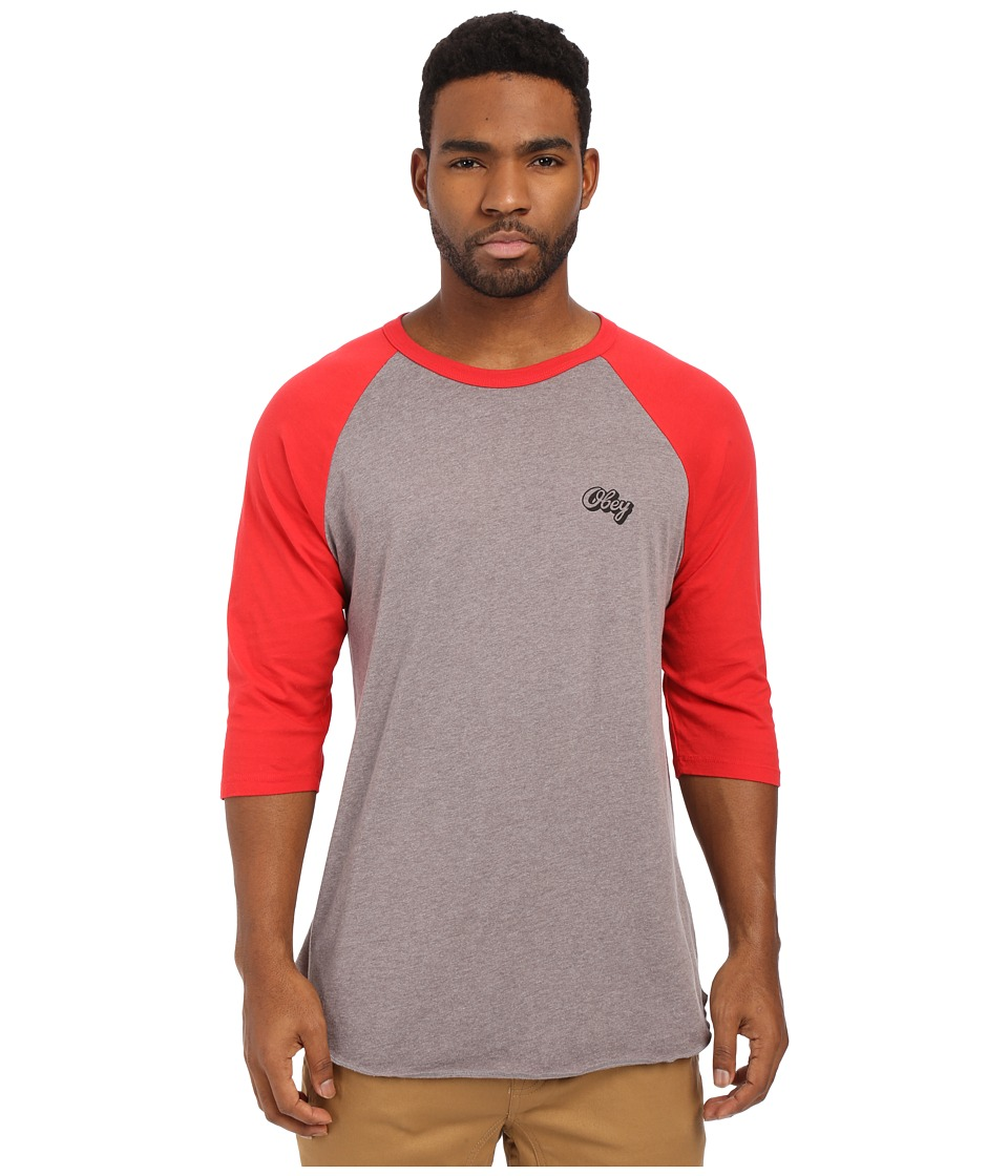 Obey - Oranje Script Raglan Top (Heather Charcoal/Red) Men's Long Sleeve Pullover