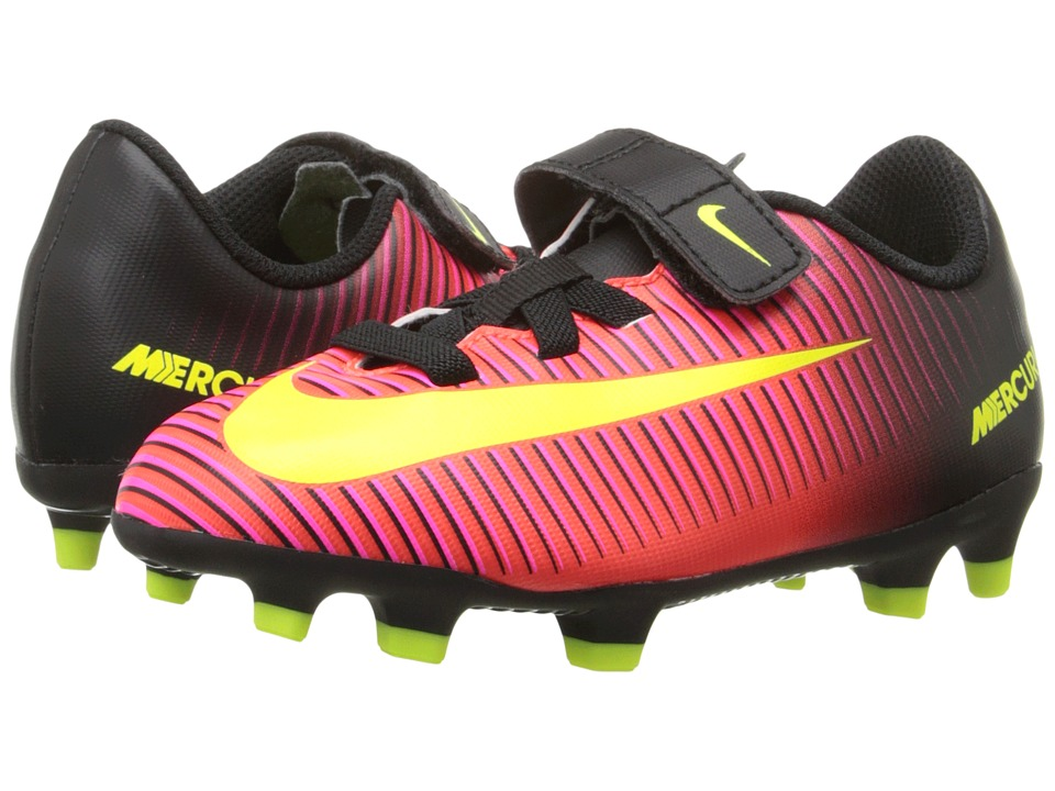 Nike Kids - Jr Mercurial Vortex III (V) FG Soccer (Toddler/Little Kid) (Total Crimson/Black/Pink Blast/Volt) Kids Shoes