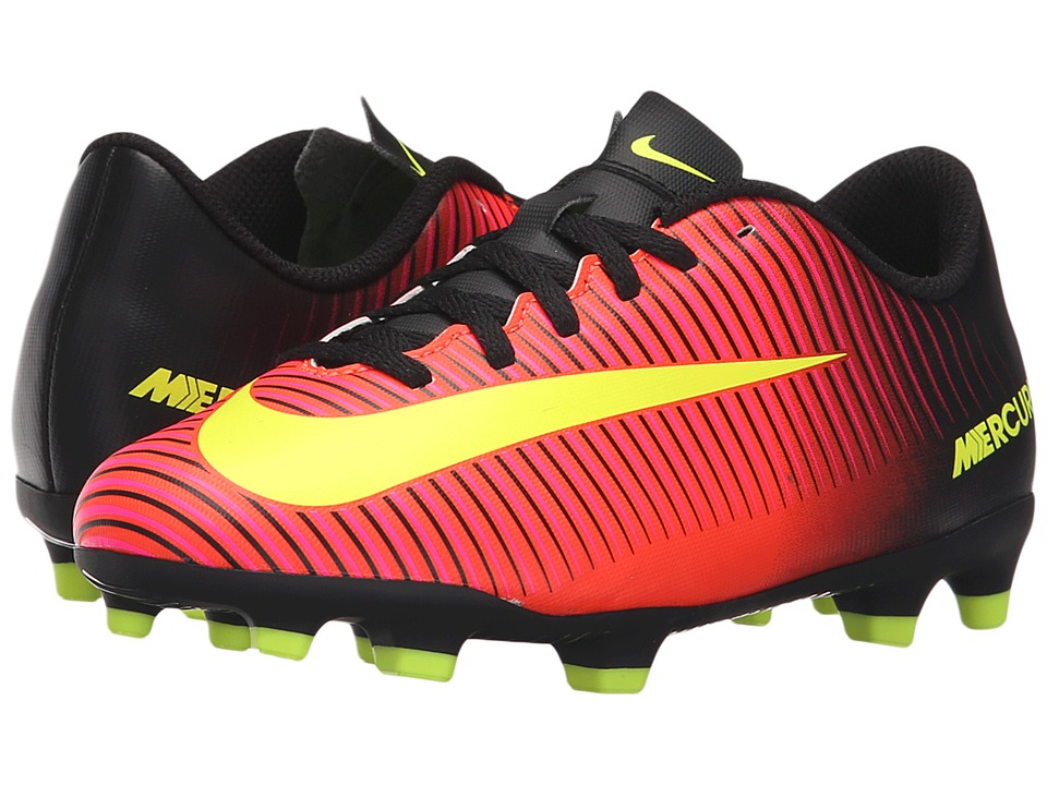 Nike Kids - Jr Mercurial Vortex III FG Soccer (Little Kid/Big Kid) (Total Crimson/Black/Pink Blast/Volt) Kids Shoes