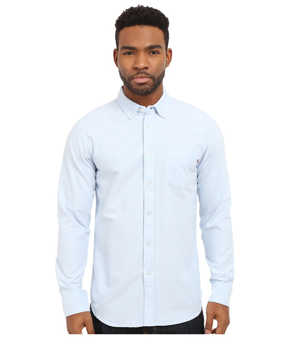 Obey - Dissent Trait Long Sleeve Woven Top (Light Blue) Men's Long Sleeve Button Up