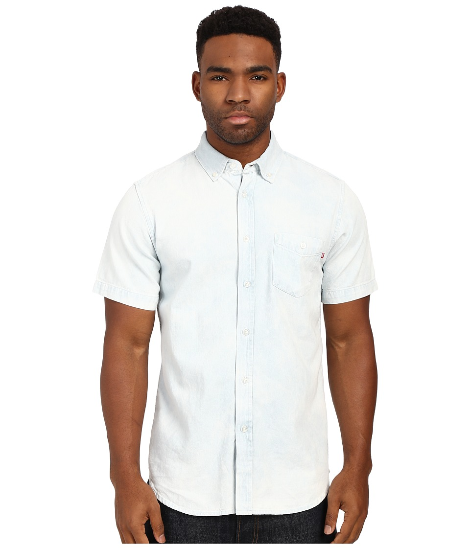 Obey - Keble Short Sleeve Woven Top (White) Men's Short Sleeve Button Up