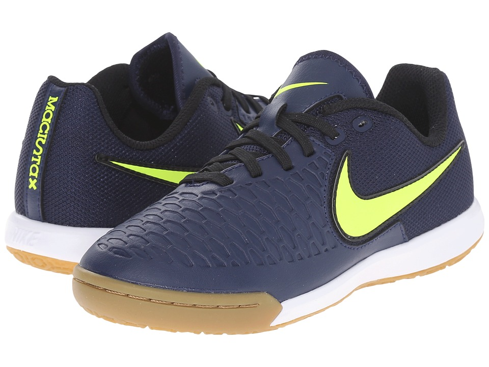 Nike Kids - Jr Magistax Pro IC Soccer (Little Kid/Big Kid) (Midnight Navy/Gum/Light Brown/White/Volt) Kids Shoes