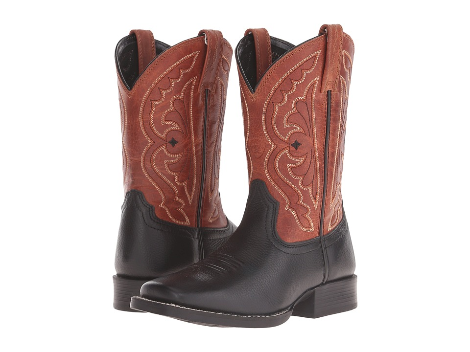 Ariat Kids Quickdraw (Toddler/Little Kid/Big Kid) (Black/Burnt Orange) Cowboy Boots