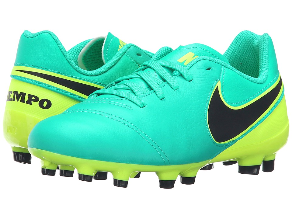 Nike Kids - Jr Tiempo Legend VI FG Soccer (Toddler/Little Kid/Big Kid) (Clean Jade/Volt/Black) Kids Shoes