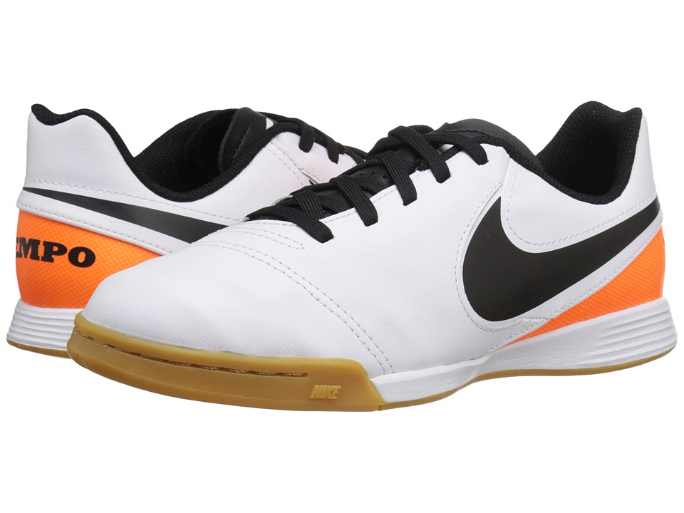 Nike Kids - Jr Tiempo Legend VI IC Soccer (Toddler/Little Kid/Big Kid) (White/Total Orange/Black) Kids Shoes