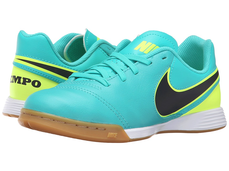 Nike Kids - Jr Tiempo Legend VI IC Soccer (Toddler/Little Kid/Big Kid) (Clear Jade/Volt/Black) Kids Shoes