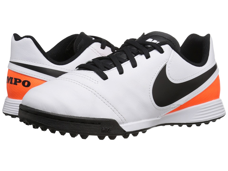 Nike Kids - Jr Tiempo Legend VI TF Soccer (Toddler/Little Kid/Big Kid) (White/Total Orange/Black) Kids Shoes
