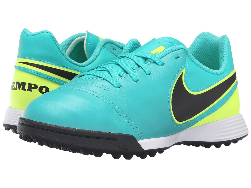 Nike Kids - Jr Tiempo Legend VI TF Soccer (Toddler/Little Kid/Big Kid) (Clear Jade/Volt/Black) Kids Shoes
