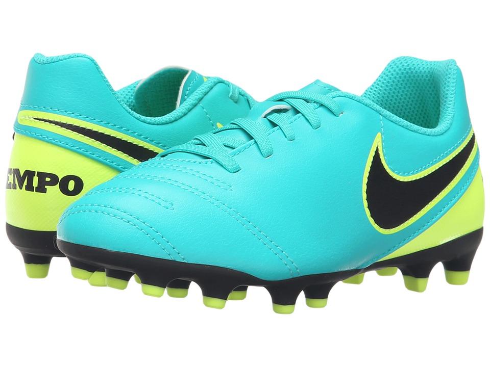 Nike Kids - Jr Tiempo Rio III FG-R Soccer (Little Kid/Big Kid) (Clear Jade/Volt/Black) Kids Shoes