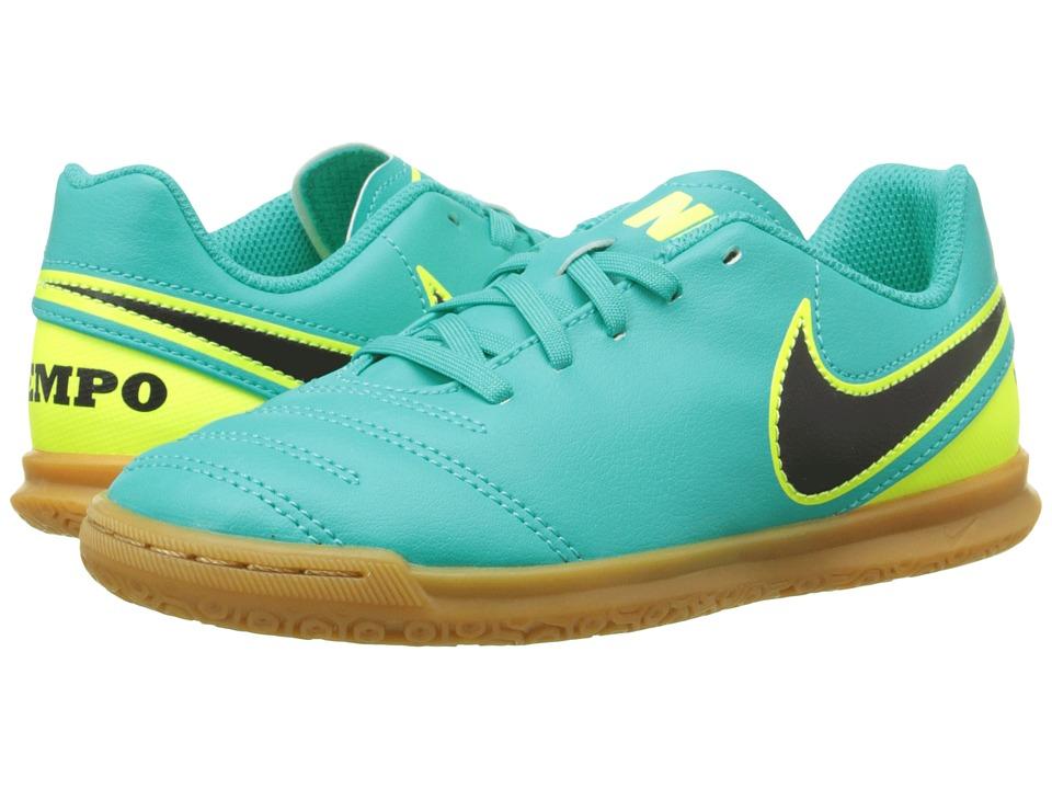 Nike Kids - Jr Tiempo Rio III IC Soccer (Little Kid/Big Kid) (Clear Jade/Volt/Black) Kids Shoes