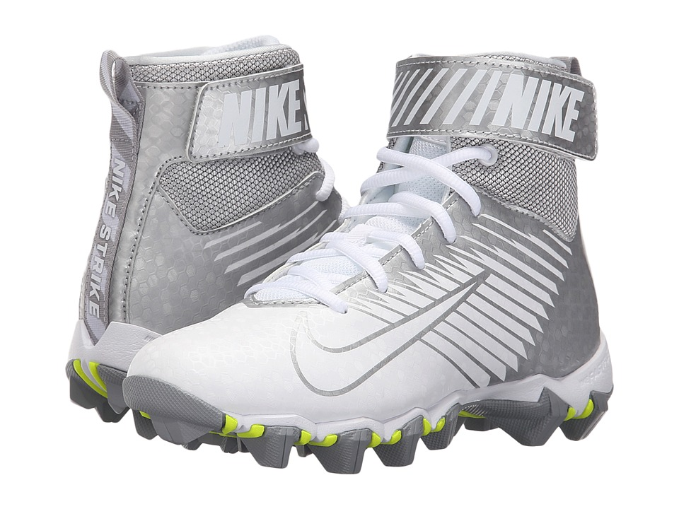 Nike Kids - Lunarbeast Shark BG Football (Toddler/Little Kid/Big Kid) (White/Metallic Silver) Kids Shoes