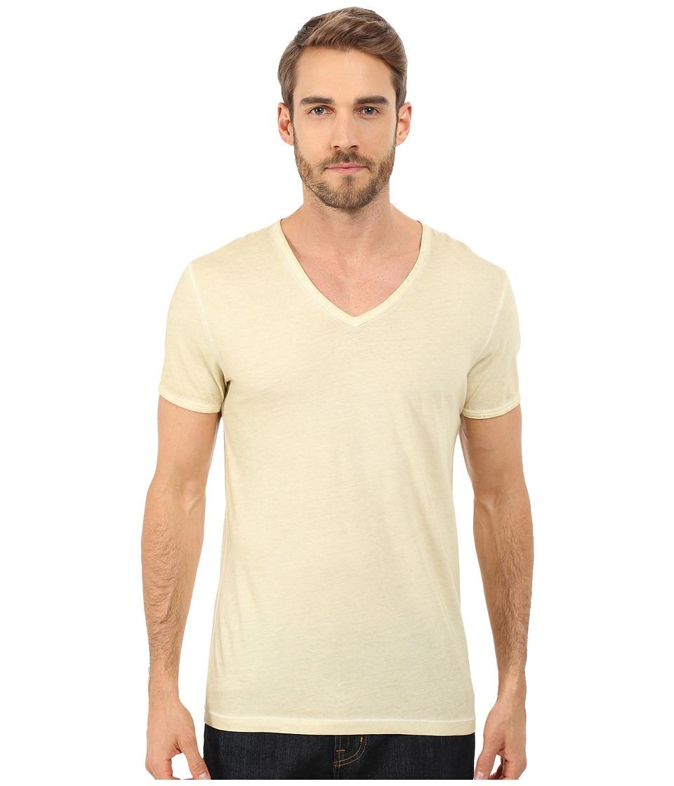 BOSS Orange - Toulouse Garment Dyed Jersey Fashion Fit Short Sleeve V-Neck Tee (Yellow) Men
