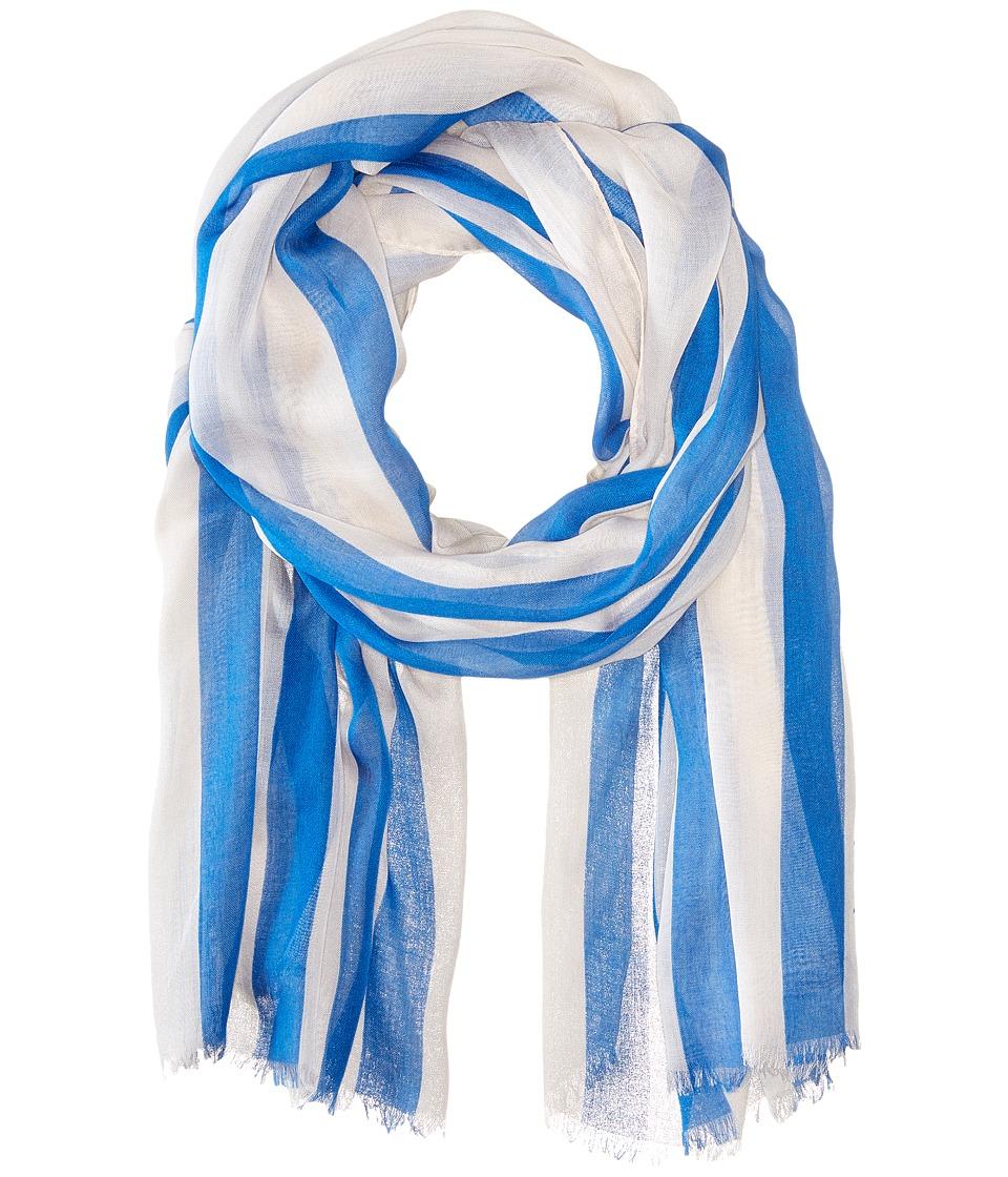 LAUREN Ralph Lauren - Roxana Scarf (White/Aqua Stripes) Scarves