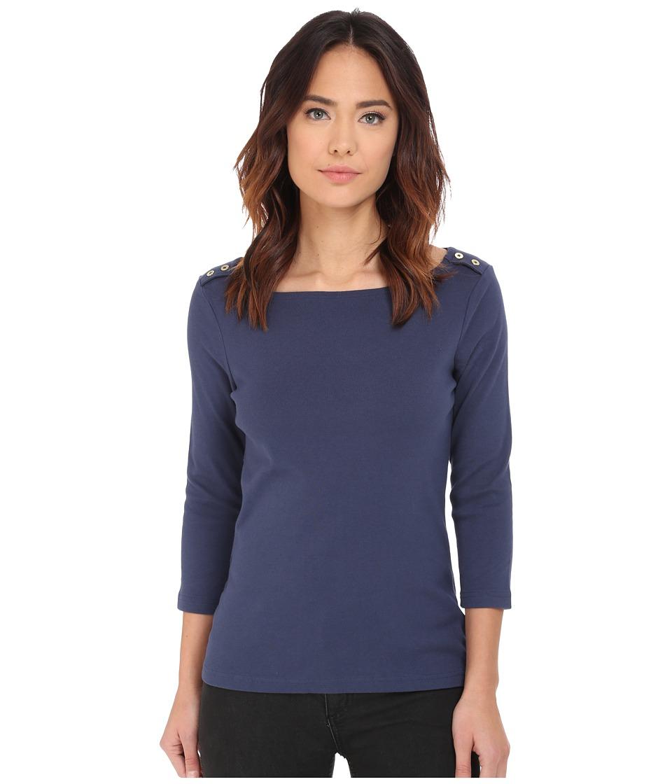 Pendleton - Corina Rib Tee (Indigo) Women's Short Sleeve Pullover