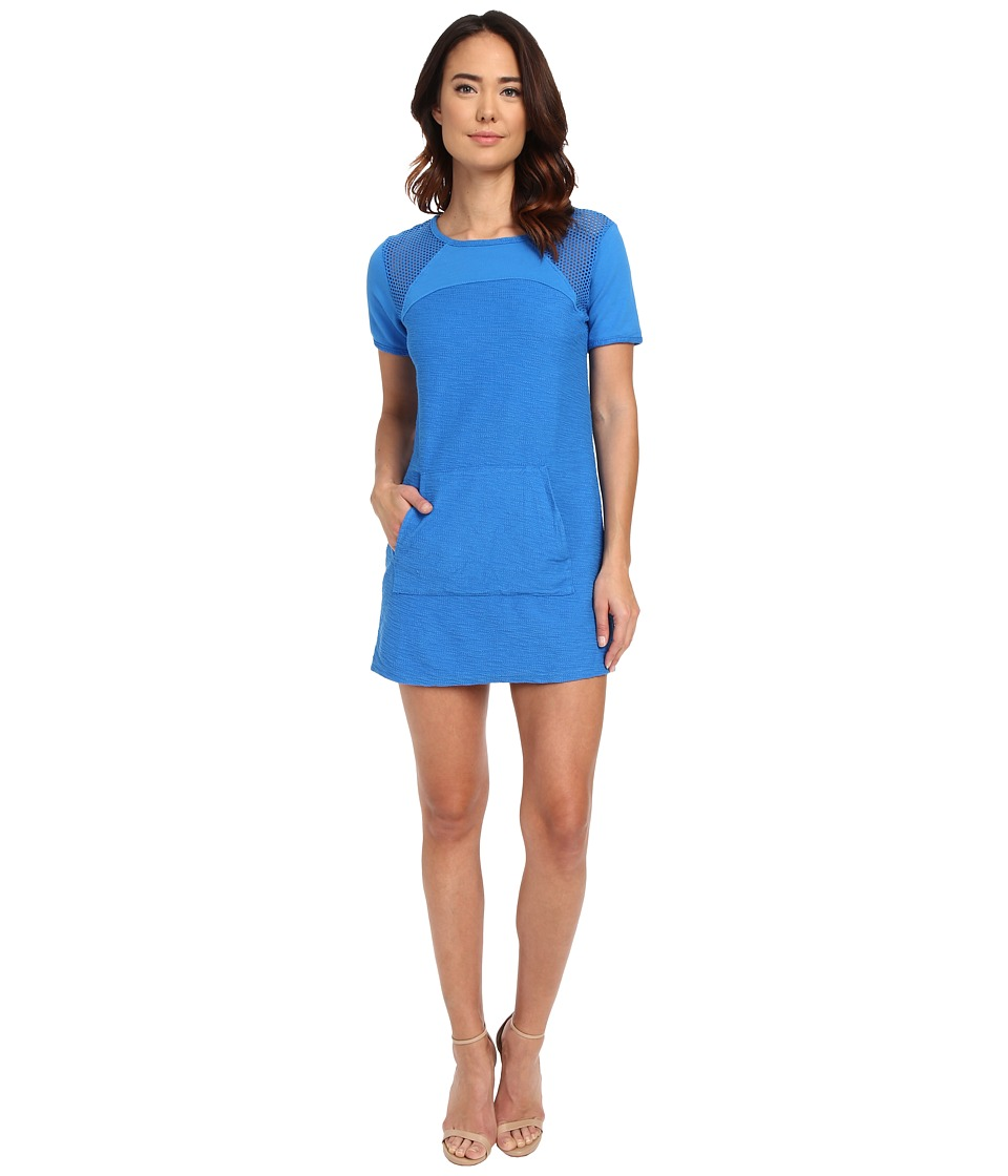 Michael Stars Park Place French Terry Short Sleeve Dress w/ Mesh (Pacific) Women