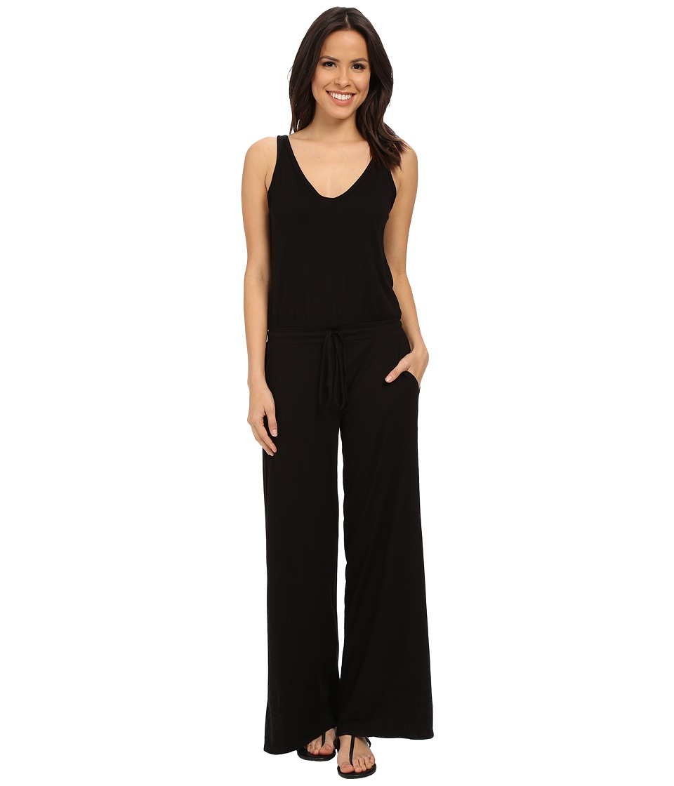 Michael Stars - Vee Neck Wide Leg Jumpsuit (Black) Women's Jumpsuit & Rompers One Piece